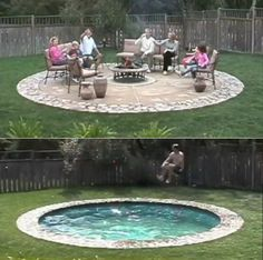 Hidden Water Pool. SO freakin cool, turns into a patio... safer and more practical for cold weather months! -AMAZING!