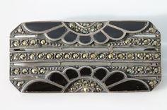 Vintage Art Deco 925 Sterling Silver Black Enamel Marcasite Brooch Pin