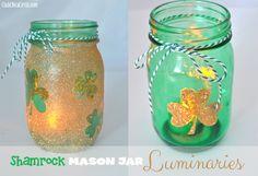Shamrock Mason Jar Luminaries via @Mom4Real