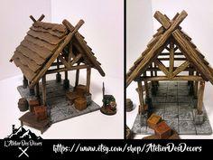 Décor Halle médiévale (Warhammer, Pathfinder, D&D, Frostgrave, ...) http://etsy.me/2mMtnat #jouets #wargaming #terrain #decor #warhammer #pathfinder #medieval #frostgrave #donjonsetdragons