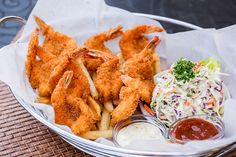 Shrimp, Lightly Breaded and Fried Crisp with French Fries and Cole Slaw...#nom