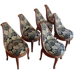 Set of Six Mahogany Chairs by Sue et Mare, 1925   From a unique collection of antique and modern chairs at https://www.1stdibs.com/furniture/seating/chairs/