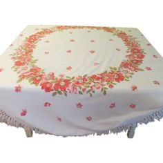 Ring Around the Floral fringe Tablecloth - b182 - Ring Around the Floral fringe Tablecloth - b182