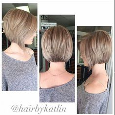 Chin length brunette highlighted bob haircut with back layers