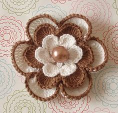 Crochet Flower In Ivory And Lt Brown