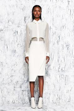 Asymmetric stretch cotton-blend pencil skirt (€327,-) + layered washed-silk blouse (€440,30) by Jonathan Simkhai Pre-Fall 2014