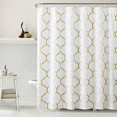 Add sophisticated style with this Metallic Ogee Shower Curtain. It features a gold Moroccan pattern for an exotic and dramatic effect.