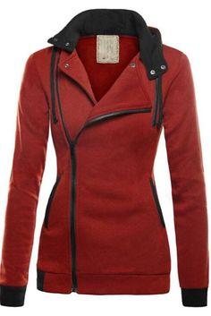 Plus Cotton Thicker Oblique Zipper Pure Color Short Coat