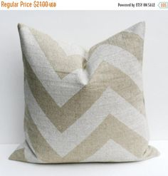 15% Off Sale Pillows Throw Pillow Covers Chevron Pillow ONE 20 x 20 Pillow Cover  Accent pillowsBurlap Pillow Cover HouseWares Printed Fabri