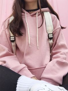 oversized pastel pink cutesy-grunge/pastel goth sweatshirt/hoodie, backpack, heart choker