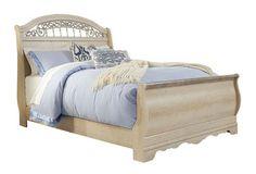 Catalina Antique White Queen Sleigh Bed