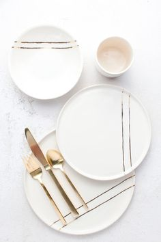 Honeycomb Studio tableware collection handmade in Atlanta, GA on Thou Swell Kevi. Honeycomb Studio tableware collection handmade in Atlanta, GA on Thou Swell Decoration Bedroom, Decoration Table, Decorations, Ceramic Tableware, Kitchenware, Crockery Set, Dinner Sets, Gold Stripes, Plates And Bowls