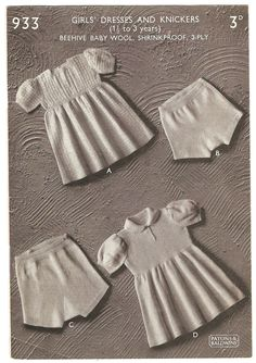 VINTAGE KNITTING PATTERN 1940s Little Girls Dress and Panties 217. $2.00, via Etsy.