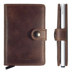 This Secrid Vintage Brown Miniwallet allows you to store your cards safely inside the Cardprotector as well as paper money, business cards and coins. The wallet is small and light, making it easier to carry with you in your pocket or bag. Rfid Wallet, Clutch Wallet, Leather Wallet, Aluminum Wallet, Nfl Logo, Luggage Accessories, Handmade Bags, Card Case, Card Holder