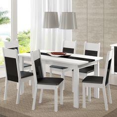 Gostou desta Mesa de Jantar 6 Lugares Veneza Branco/Preto/Courino Preto - Madesa, confira em: https://www.panoramamoveis.com.br/mesa-de-jantar-6-lugares-veneza-branco-preto-courino-preto-madesa-5039.html