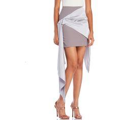 Alexis Mabille Asymmetric Bow Skirt ($390) ❤ liked on Polyvore featuring skirts, grey, alexis mabille, grey skirt, bow skirt, draped asymmetrical skirt and gray skirt