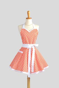 Sweetheart Retro Apron / Womens Apron in Cute Tangerine Orange and White Dots Super Cute on Etsy, $42.00