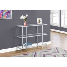 Monarch Specialties 3 Tiered Tempered Glass Top Console Table   I 2109