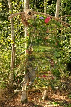Outdoor nature weaving at Sunshine Coast Botanical Garden by fabric artist Ursula Benz at Harvest Fest 2013