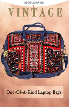 Vintage Boho Suede Leather Jaipur Laptop Bag with Antique Mirror-Work Thread Embroidery and Tassel Whimsical Fashion, Boho Fashion, Vintage Fashion, Mirror Work, Vintage Textiles, Leather Working, Laptop Bag, Fabric Weights, Shoulder Straps