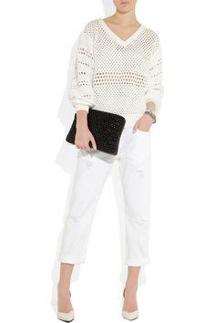 Chloé|Open-knit cotton-blend sweater|NET-A-PORTER.COM