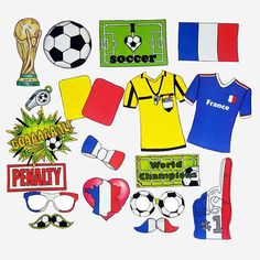 World Cup FRANCE soccer photo booth props - the ultimate fan accessory - 2018 FIFA Soccer Championship in Russia - support France France Soccer Jersey, Jersey France, Real Soccer, Soccer Fans, France Country, France Colors, Soccer Store, France Flag