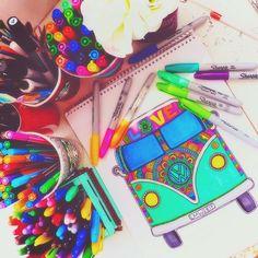 Zentangle Art combi full of colors and love! WV Daniela Hoyos Art