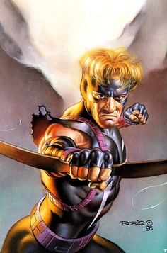 Hawkeye by Boris Vallejo. This original piece of superhero art by Boris Vallejo is currently available for purchase. Boris Vallejo, Julie Bell, Marvel Comics Art, Marvel Heroes, Hawkeye Marvel, Marvel Vs, Marvel Cards, Bell Art, Dark Evil