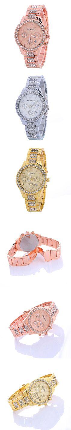 Fashion Geneva Watch Women Dress Watches Rose Gold Analog Quartz Women Ladies Rhinestone Wrist Watches Relogio Feminino