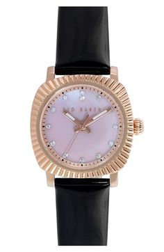 7c062e75ae Ted Baker London  Mini Jewels  Crystal Index Patent Leather Strap Watch