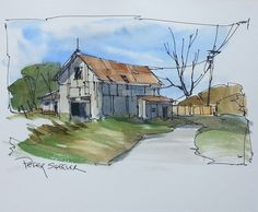 A line and wash Farm, barn scene. These are quickly dissapearing from our rural landscape. | par Peter Sheeler