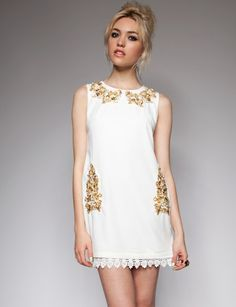 Embroidered golden dress