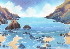 Original Watercolour Brandy Cove Gower by Pamelajonesartstudio