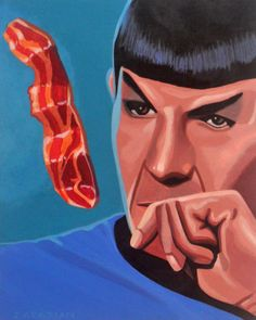 "star trek fascinating 8""x10"" original acrylic painting"