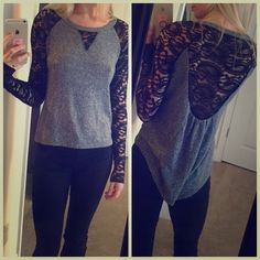 Laced sleeves hi-low long sleeve top Size M (runs small, I am typically size S) lightweight, from Lord & Taylor. Excellent condition. Shorter in front and long in back. Tops Tees - Long Sleeve