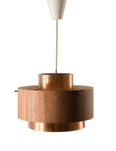 Jo Hammerborg Attributed; Copper and Wood Veneer Ceiling Light, c1959.