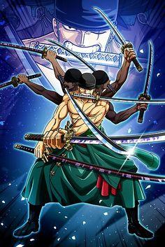 'Roronoa Zoro Ashura - one piece' Poster by Raed-D-Artist One Piece Manga, One Piece Series, Zoro One Piece, One Piece World, Anime Echii, Art Anime, Anime One, Anime Girls, Roronoa Zoro