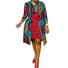 African cotton wax Print Dress and Suit Coat for Women - African Fashion Dresses African Fashion Ankara, African Fashion Designers, Latest African Fashion Dresses, African Dresses For Women, African Print Dresses, African Attire, African Print Fashion, African Women Fashion, African Style