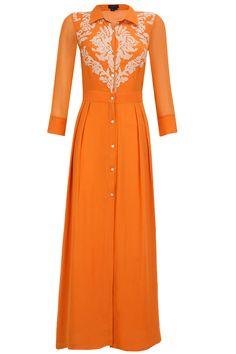 Orange applique work shirt maxi dress