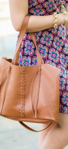 This cognac braided purse is officially my new favorite for casual summer outfits. It's the perfect size for for holding my daily necessities - including my laptop, and it's extremely affordable at @Payless ShoeSource! Click through this pin to see the full outfit by Ashley Brooke Nicholas from ashleybrookenicho...! #paylessforstyle #sponsored