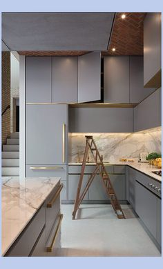 Modern Kitchen Interior The beauty is in the small details of this bespoke Roundhouse kitchen, such as the brass handles and marble worktop Grey Kitchen Designs, Kitchen Design Open, Interior Design Kitchen, Home Decor Kitchen, Kitchen Furniture, New Kitchen, Kitchen Units, Kitchen Ideas, Kitchen Cabinets
