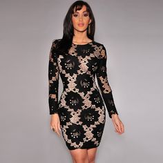 free shipping New high-end women's wholesale flesh-colored long-sleeved Slim lace flower dress nightclub Cocktail Dresses