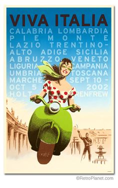 Add retro wall decor with an Italian Travel Poster for home or business. All Viva Italy Travel Posters are tabbed on the back and ready to hang. Retro Poster, Poster S, Tourism Poster, Vintage Italian Posters, Vintage Travel Posters, Vintage Advertisements, Vintage Ads, Vintage Vogue, French Vintage