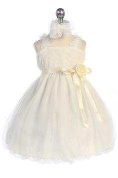 Off White Rosebud Tulle Bubbled Hem Baby Flower Girl Dress A3296M-OW A3296M-OW $31.95 on www.GirlsDressLine.Com