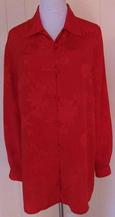Christie & Jill Women's Size L Red Long Sleeve Button Polyester Long Top #ChristieJill #ButtonDownShirt