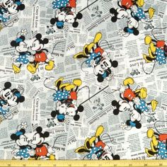 Walt Disney Vintage Mickey And Minnie Mouse In Love 100% Cotton Fabric | eBay