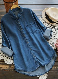 Work clothes to have with free shipping&easy return! This classic denim shirt will give you this expecially sassy&cozy look! Go Find more surprise at Cupshe.com Denim Button Up, Button Up Shirts, Hot Clothes, Girl Things, Hot Outfits, Wishful Thinking, Dress Shirts, Denim Shirt, Baby Baby