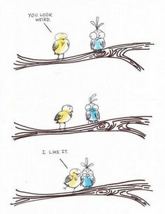 Ooh, the little birdies.  Think of the emotional trauma of the blue one.  Think of the yellow one wanting to be friends with the blue one while other birds are making fun.  So sweet!!!!