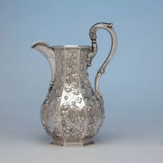 Jones, Ball & Poor Coin Silver Presentation Pitcher and Goblets, c. 18 - Spencer Marks Ltd Cumberland County, Rare Coins, Clay Pots, Leaf Design, Silver Coins, Makers Mark, Grape Vines, Presentation, Pure Products