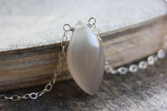 Moonstone Silver Necklace Sterling Diamond by TaraJacksonJewelry, $49.99